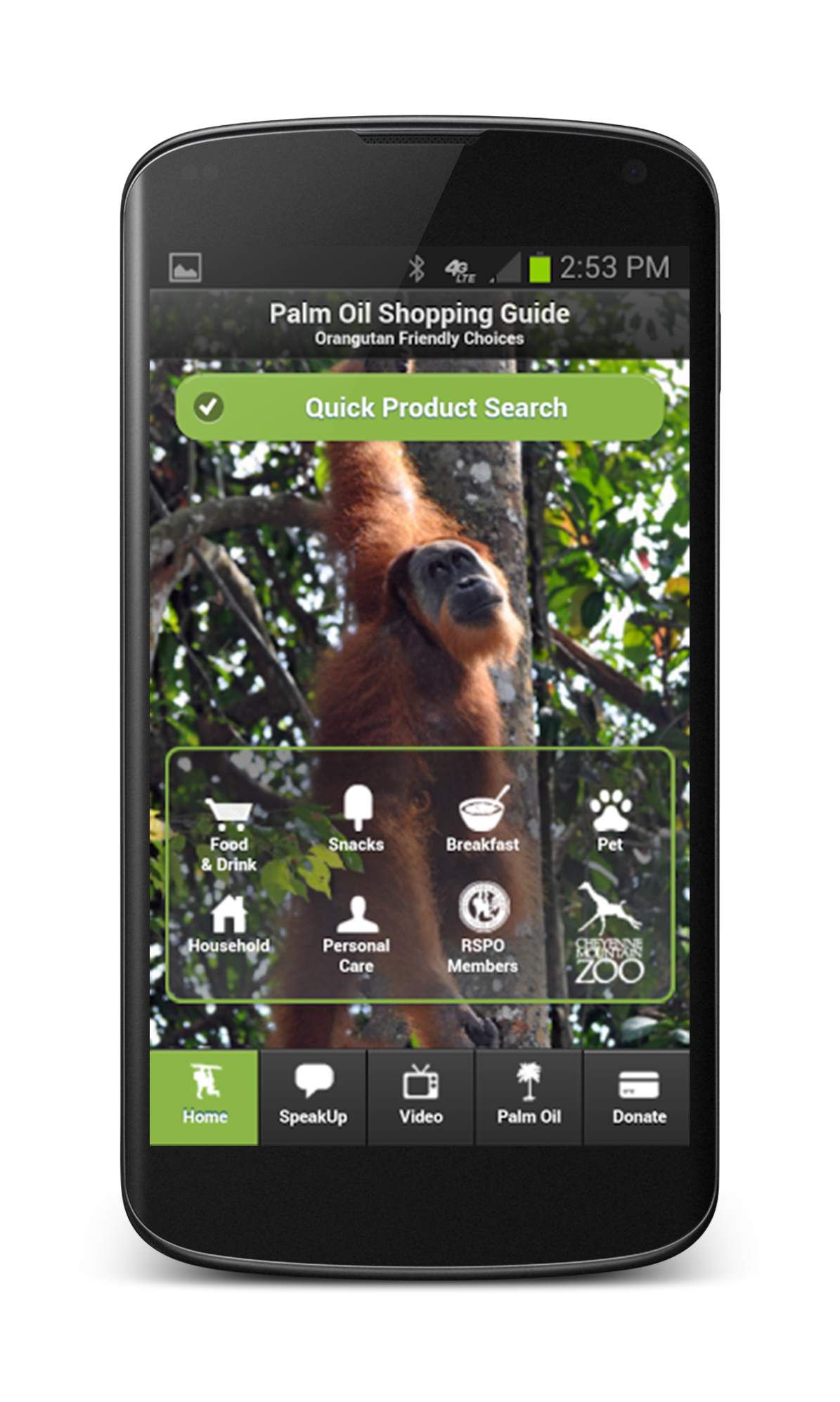 Download the Cheyenne Mountain Zoo's palm oil shopping guide app for Android or Apple.