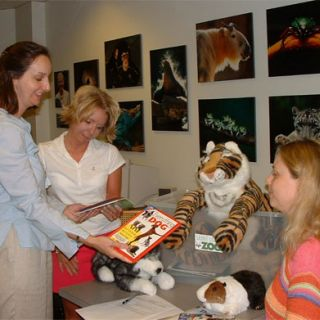 "Teachers look over the new ""Pets and their Wild Relatives"" Zoocase."